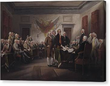 The Declaration Of Independence, July 4, 1776 Canvas Print by John Trumbull