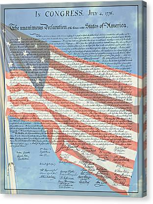 The Declaration Of Independence - Star-spangled Banner Canvas Print by Stephen Stookey