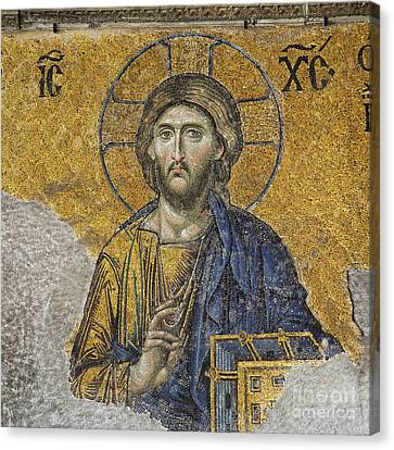 The Deisis Mosaic At The Hagia Sophia Museum In Istanbul Canvas Print by Robert Preston