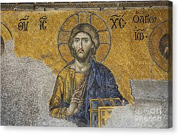 The Deisis Mosaic Showing Jesus Christ Hagia Sophia Canvas Print by Robert Preston