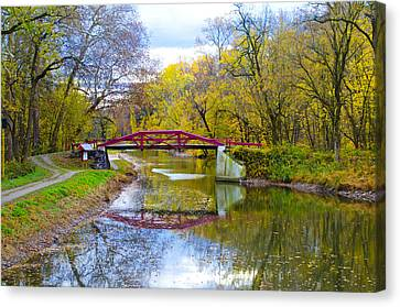 The Delaware Canal Near New Hope Pa In Autumn Canvas Print by Bill Cannon