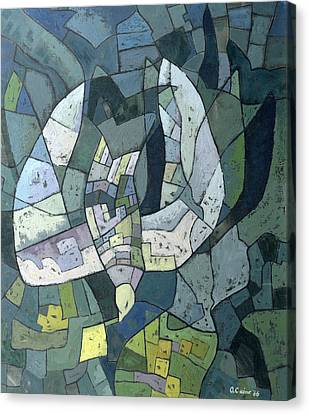 The Descending Dove Libra, 1966 Canvas Print by Osmund Caine