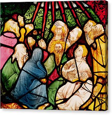 The Descent Of The Holy Spirit, C.1400 Stained Glass Canvas Print by French School