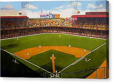 The Detroit Tigers Briggs Stadium Around 1940 Canvas Print by Dwight Goss