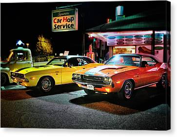 The Dodge Boys - Cruise Night At The Sycamore Canvas Print by Thomas Schoeller