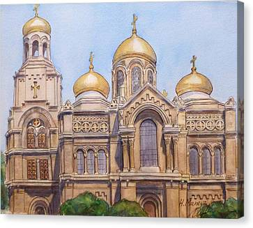 The Dormition Of The Mother Of God Cathedral  Varna Bulgaria Canvas Print by Henrieta Maneva