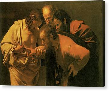 The Doubting Of St Thomas Canvas Print by Caravaggio