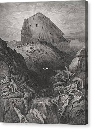 The Dove Sent Forth From The Ark, Genesis 138-9, Illustration From Dores The Holy Bible, 1866 Canvas Print by Gustave Dore