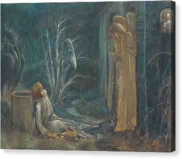 The Dream Of Lancelot Canvas Print by Sir Edward Burne-Jones