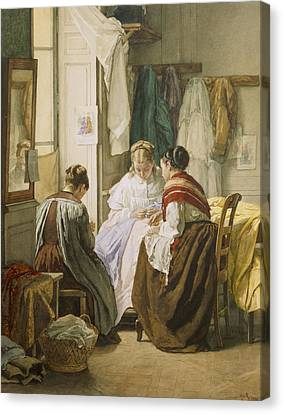 The Dressmakers Canvas Print by Jules Trayer
