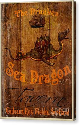 The Drunken Sea Dragon Pub Sign Canvas Print by Cinema Photography