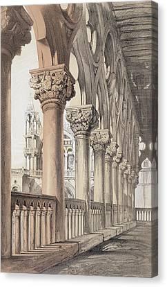 The Ducal Palace, Renaissance Capitals Canvas Print by John Ruskin