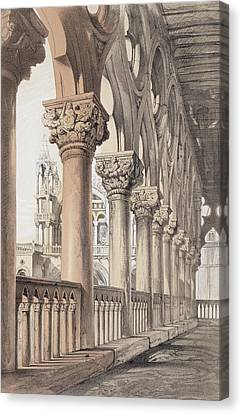 The Ducal Palace, Renaissance Capitals Canvas Print by John Ruskin