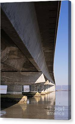 The Dumbarton Bridge In The South Bay Area California Dsc2458 Canvas Print by Wingsdomain Art and Photography