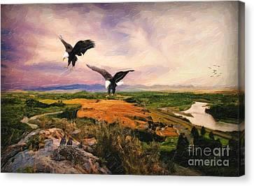 The Eagle Will Rise Again Canvas Print by Lianne Schneider