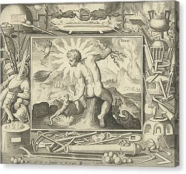 The Element Of Fire As A Young Man With Lightning Canvas Print by Nicolaes De Bruyn