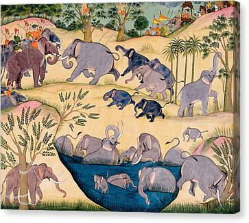 The Elephant Hunt Canvas Print by Indian School