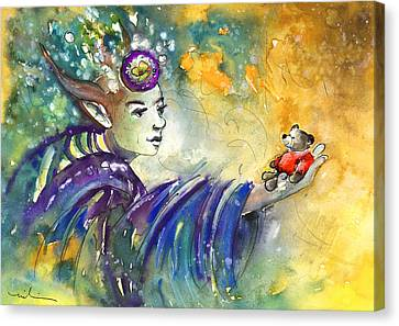 The Elf And The Little Bear Canvas Print by Miki De Goodaboom