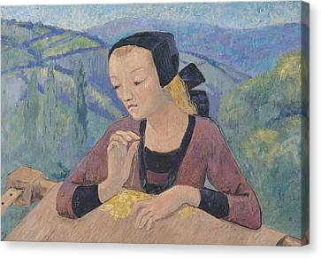 The Embroideress Canvas Print by Paul Serusier