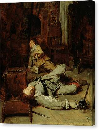 The End Of The Game Of Cards Canvas Print by Jean Louis Ernest Meissonier
