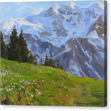 The Evening In Mountains Canvas Print by Victoria Kharchenko