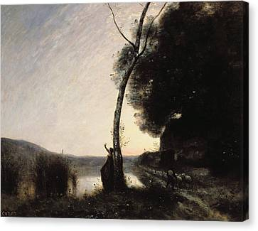 The Evening Star Canvas Print by Jean Baptiste Camille Corot