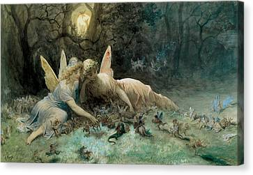 The Fairies From William Shakespeare Scene Canvas Print by Gustave Dore