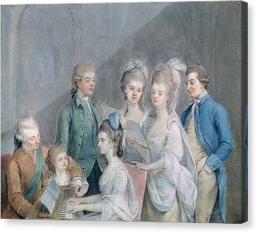 The Family Of Charles Schaw, 9th Baron Cathcart 1721-76 Pastel On Paper Canvas Print by Johann Zoffany