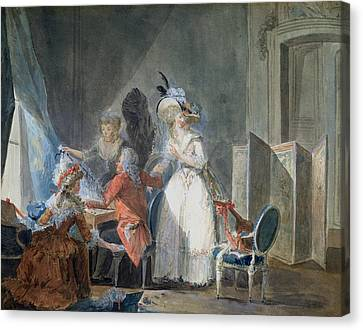 The Fashion Seller  Canvas Print by Philibert Louis Debucourt