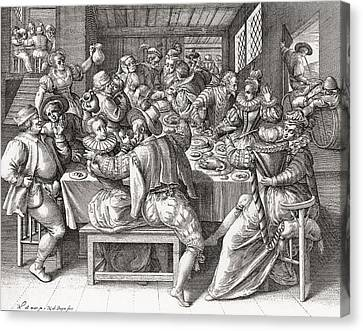 The Feast, After A 17th Century Engraving By N. De Bruyn.  From Illustrierte Sittengeschichte Vom Canvas Print by Bridgeman Images
