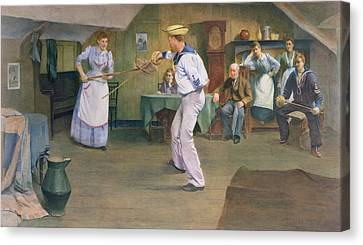 The Fencing Lesson Canvas Print by Frederick James McNamara Evans