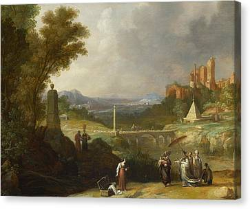 The Finding Of The Infant Moses By Pharaoh's Daughter Canvas Print by Bartholomeus Breenbergh
