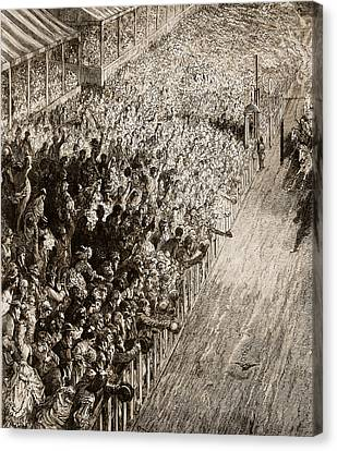 The Finishing Line Of The Derby Canvas Print by Gustave Dore