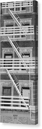 The Fire Escape In Black And White Canvas Print by Rob Hans