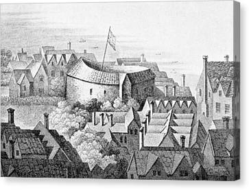 The First Globe Theatre Or Rose Theatre Etching Canvas Print by English School