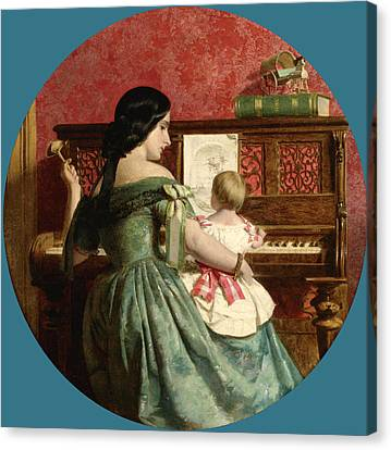 The First Piano Lesson Canvas Print by Charles West Cope