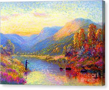 Colorado River Canvas Print featuring the painting Fishing And Dreaming by Jane Small