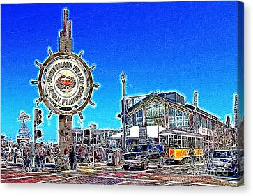 The Fishermans Wharf San Francisco California 7d14232 Artwork Canvas Print by Wingsdomain Art and Photography