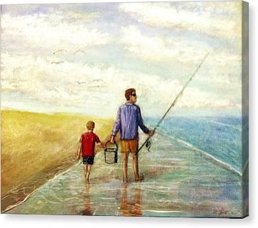 The Fishermen Canvas Print by Larry E Lamb