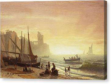 The Fishing Fleet Canvas Print by Albert Bierstadt