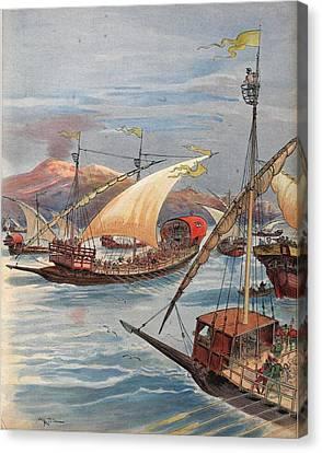 The Fleet Of Doria, Naples Canvas Print by Albert Robida
