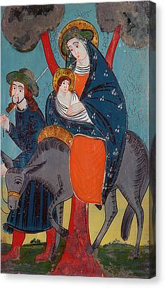 The Flight Into Egypt Glass Painting Canvas Print by Austrian School