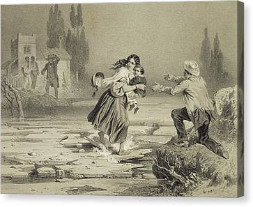 The Flight Of Eliza, Plate 3 From Uncle Canvas Print by Adolphe Jean-Baptiste Bayot