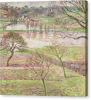 The Flood At Eragny Canvas Print by Camille Pissarro