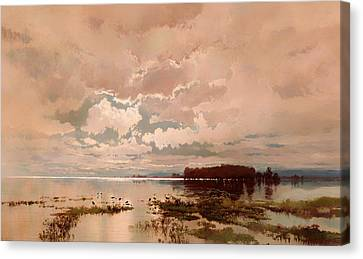 The Flood In The Darling 1890 Canvas Print by Mountain Dreams