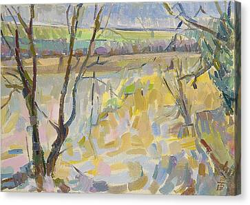 The Flooded Cherwell From Rousham II Oil On Canvas Canvas Print by Erin Townsend