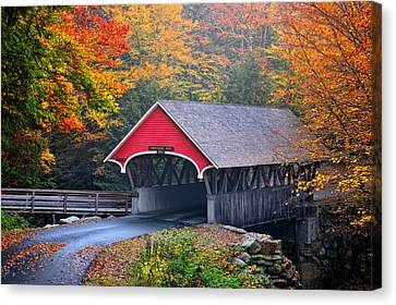 The Flume Covered Bridge Canvas Print by Thomas Schoeller