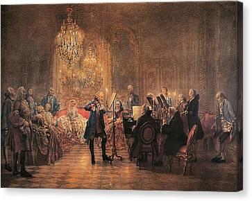 The Flute Concert Canvas Print by Adolph Friedrich Erdmann von Menzel