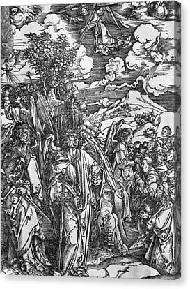 Male Angel Canvas Print featuring the painting The Four Angels Holding The Winds by Albrecht Durer or Duerer