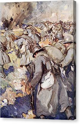 The French Force Rushed Forward To Take Canvas Print by Cyrus Cuneo